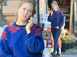 Blue Monday:India Oxenberg, 26, was seen Monday morning as she headed into work at the vegetarian cage Plantmade (above)