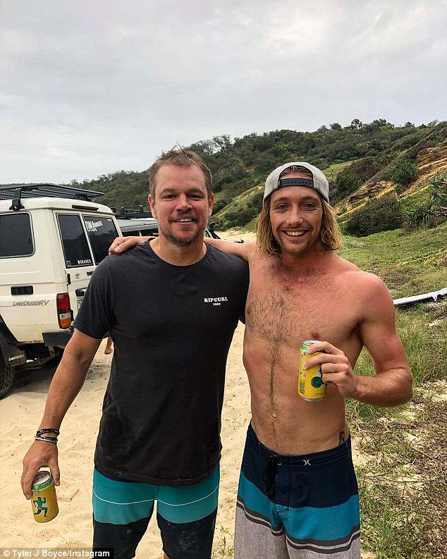 My shout: Matt Damon was soaking up the sun at Double Island Point, near Noosa, over the weekend, when local Tyler Boyce spotted the actor and offered him a beer