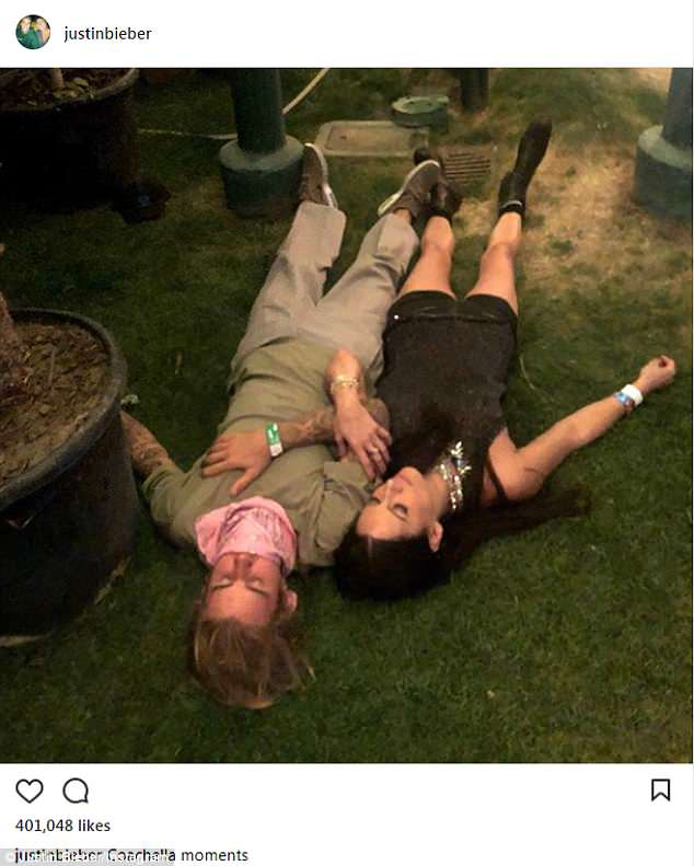 Taking five: Justin Bieber enjoys a breather with a friend