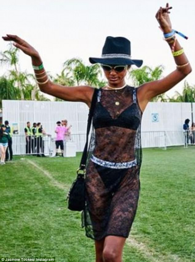 Angelic:  Tookes showed off her underwear in a sheer dress