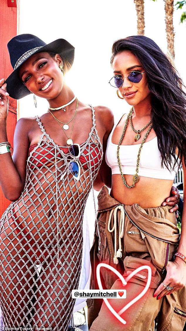 Style: the model poses with fellow model Shay Mitchell