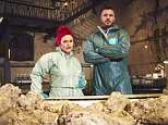 Presenter Rick Edwards and pathology technician Carla Valentine examine a fatberg in a documentary to be screened tonight