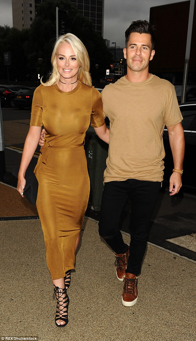 Cute couple: Rhian has been happily engaged to former Coronation Street star Oliver Mellor since 2014, after he proposed in front of a packed audience at the Manchester Opera House