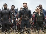 "This image released by Marvel Studios shows, front row from left, Danai Gurira, Chadwick Boseman, Chris Evans, Scarlet Johansson and Sebastian Stan in a scene from ""Avengers: Infinity War,"" premiering on April 27. (Chuck Zlotnick/Marvel Studios via AP)"