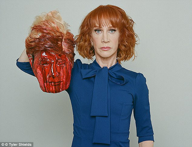 Back in the spotlight: Kathy's planning to return to the public stage, nine months after a photo of her holding a model of President Trump's decapitated head made waves (above)
