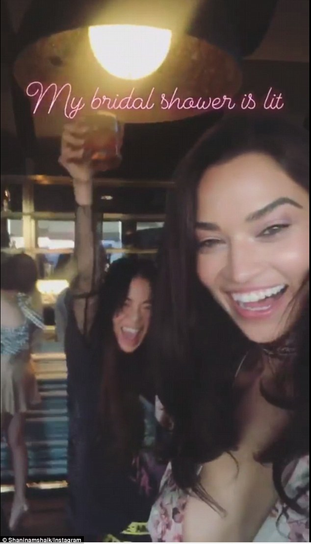 Tom Ford gifts, signature cocktails, flower ice cubes and pink choc-dipped strawberries! Shanina documented her lavish bridal shower at the Highlight Room in Los Angeles