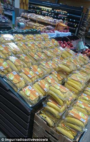 One Imgur user snapped this enormous unit full of bananas kept in unnecessary plastic boxes