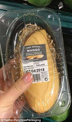 M&S has sold a pre-peeled mango in a large plastic box