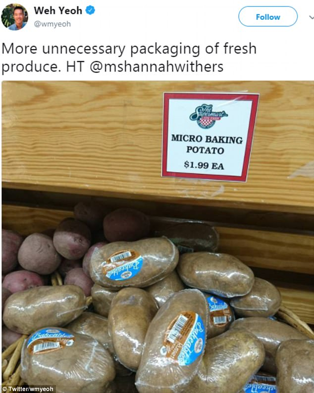 The great thing about potatoes is that they already have a coating that protects the inside from damage and disease - but this US store didn't take any chances