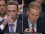 A hilarious bad lip reading video displays Mark Zuckerberg starting his testimony before Congress saying: 'Uh just a sec. Mom could you get me my Frodo ring? I want it here'