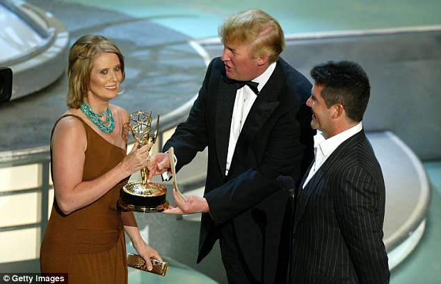 Deja vu: Nixon launches her bid for governor in the wake of President Trump's victory (Trump presents Nixon with an Emmy in 2006)