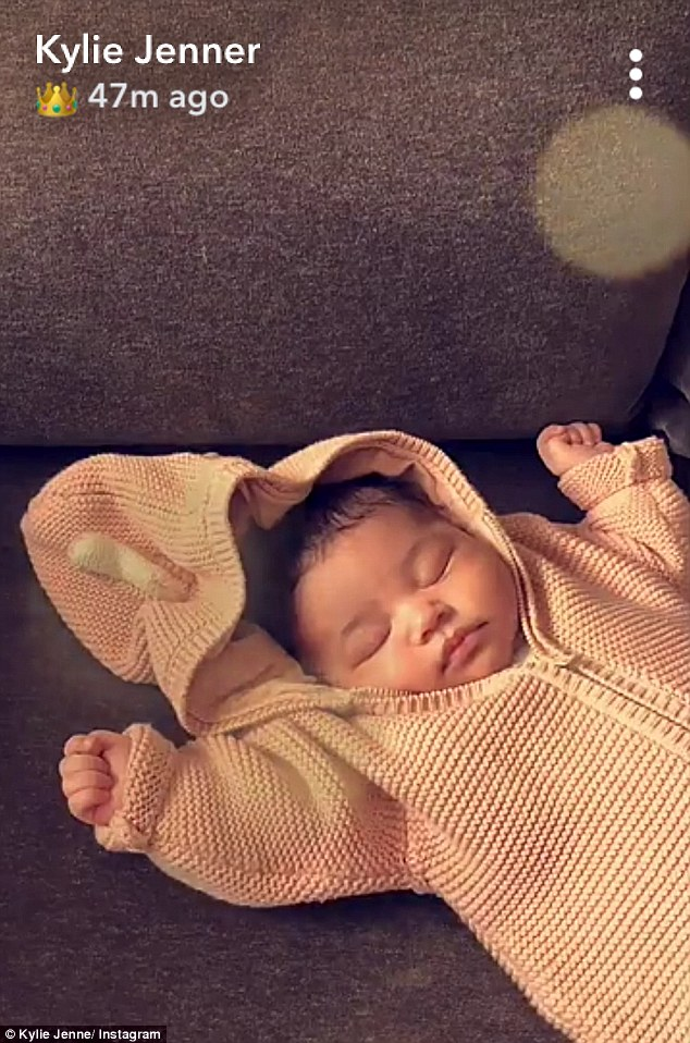 Little love: Kylie stayed secretive about her first pregnancy until revealing an adorable video on Instagram after giving birth on Feb 1