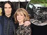 Russell Brand's mother Barbara (pictured right, in Los Angeles) was injured in a car crash on her way to the star's home
