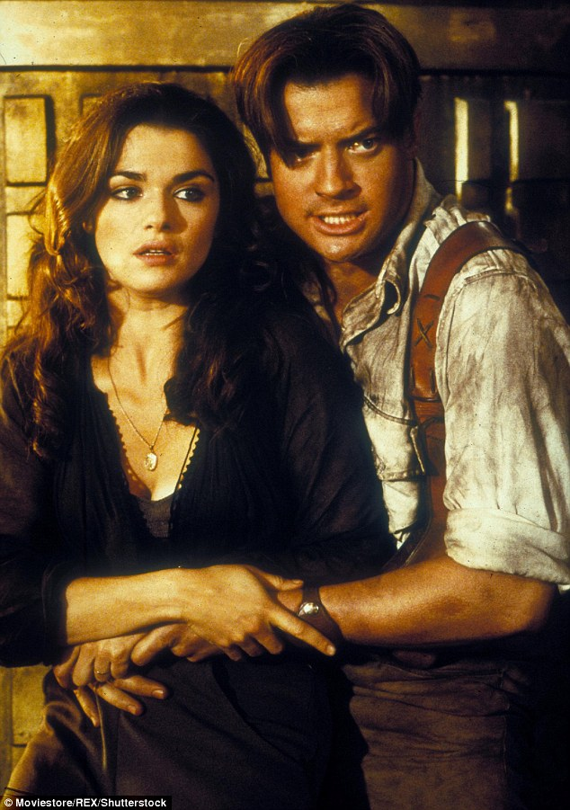 Leading man appeal: Fraser also had big success with The Mummy franchise; he's seen here with co-star Rachel Weisz