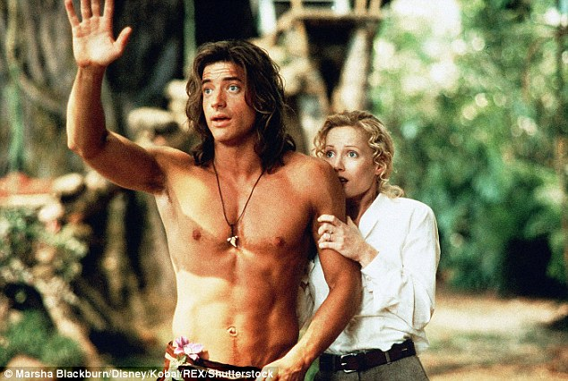 Top dude: The star was in the best shape of his life when he made the 1997 movie George Of The Jungle with Leslie Mann