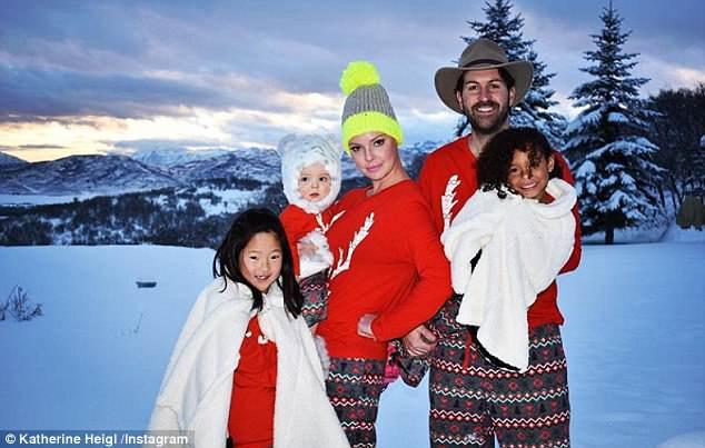 One big family: Heigl shares her three kids with husbandJosh Kelley, 38