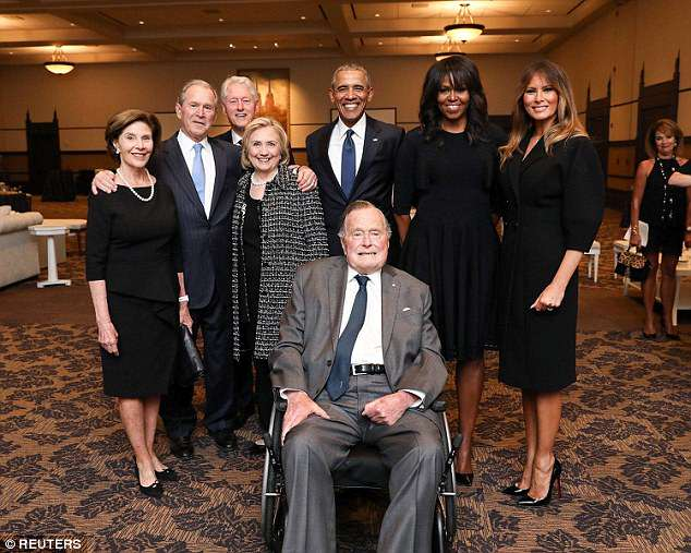 Bush was among four former president's to attend the service, including his son George W. Bush. Bill Clinton and Barack Obama were also in attendance with their wives. First Lady Melania Trump also attended the funeral