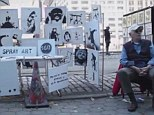 A stall selling original, signed Banksy art popped up near New York's Central Park on Saturday, but passersby had no idea the works were authentic