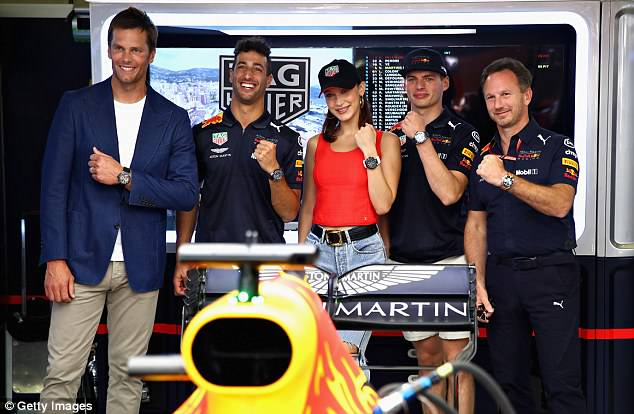 Let's do this! Bella  posed with NFL's Tom Brady, racers Daniel Ricciardo andMax Verstappen, as well asRed Bull Racing Team Principal Christian Horner