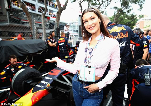 On the track: The model couldn't hide her delight as she posed next to the Red Bull Racing team on the grid before the Monaco Formula One Grand Prix