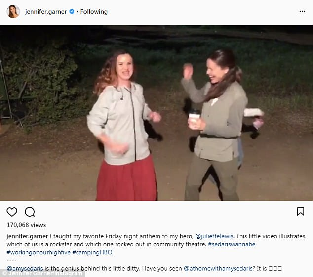 Girl time: Jennifer has shared snaps from behind-the-scenes of her latest gig, Camping, co-starring Juliette Lewis