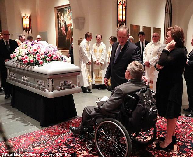 Bush, pictured above his son George W. Bush at Barbara's funeral, was admitted to the Houston Methodist Hospital on Sunday morning after contracting an infection