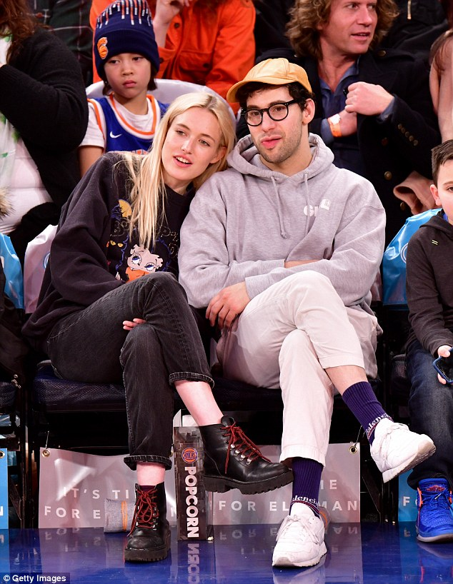 Looking cozy: Jack Antonoff cuddles up with new girlfriend Carlotta Kohl on Saturday after his split from Lena Dunham in December