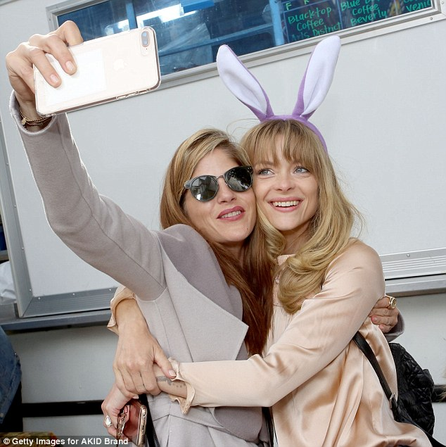 Gal pals: The Easter-themed event attracted a collection of celebrity moms, including Jaime King, 38. The actress also stopped to snap selfies with Selma
