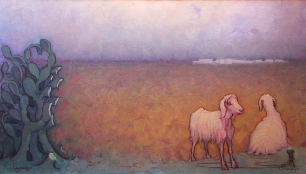 Paesaggio a Sera. Olio su tela. 140 x 80 cm