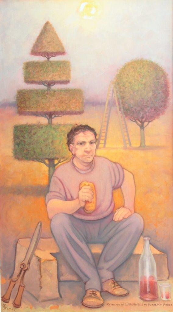 Ritratto di giardiniere in pubblico parco