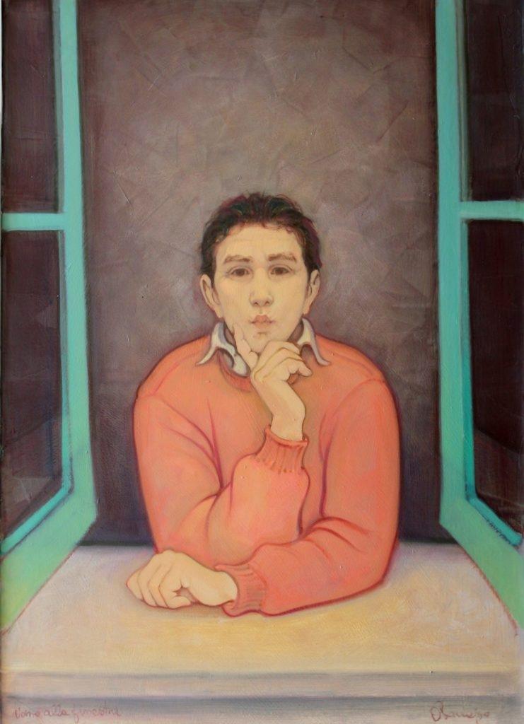 Uomo alla Finestra che bacia i passanti. 90 x 65 cm