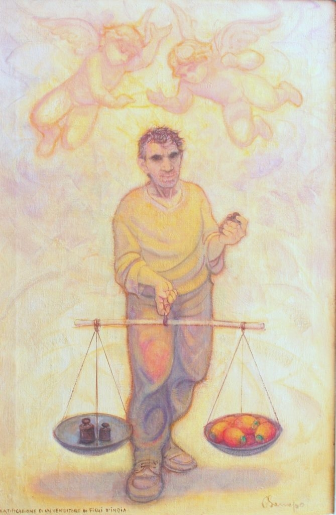 Beatificazione di un Venditore di Fichi D'India. Olio su tela. 90 x 65 cm