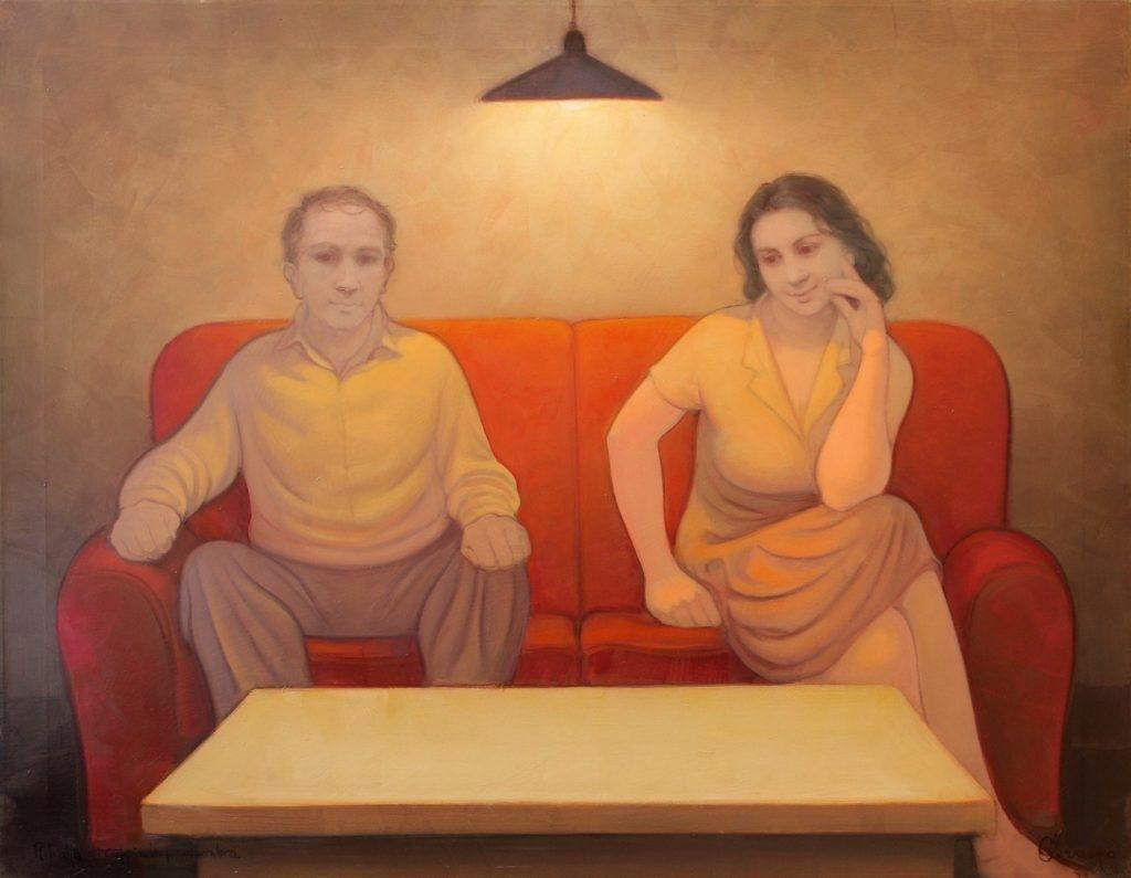 Ritratto di coppia in penombra. Olio su tela. 130 x 100 cm