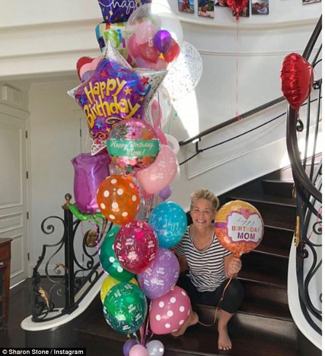 Birthday fun! Sharon shared a sweet Instagram on her March 10 birthday, gushing that her sons had arranged a huge bunch of colourful balloons to be delivered