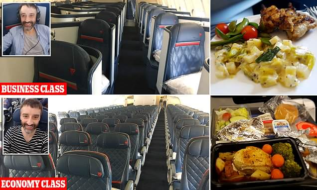 Inside Delta's business class cabin flying from London to New York