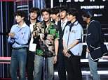 BTS accepts the Top Social Artist award onstage during the 2018 Billboard Music Awards