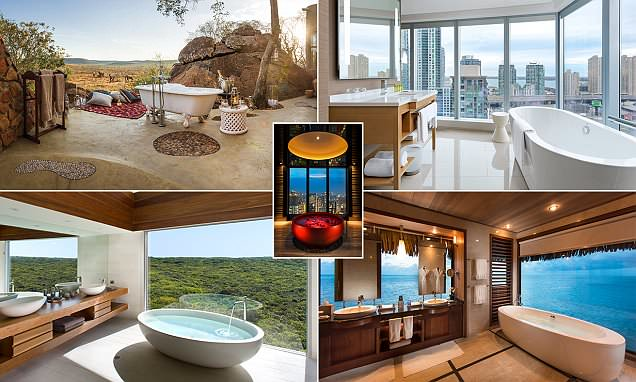 A place to really soak in the view! The world's best hotel bathroom vistas