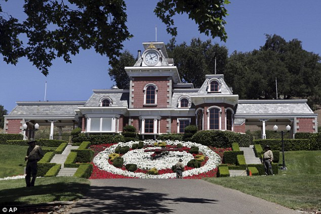Workers standby at the train station at Neverland Ranch in Los Olivos, California