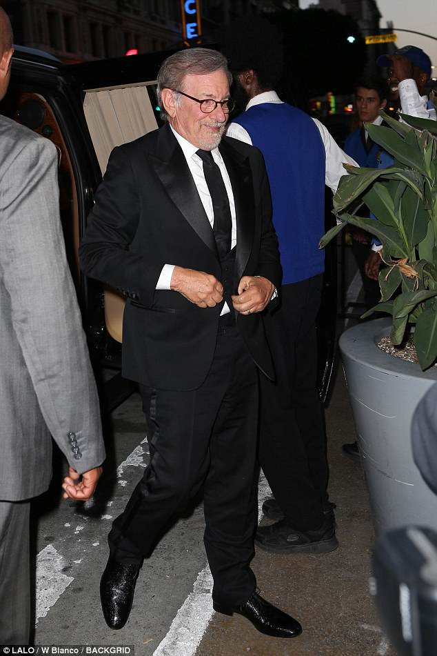 Hollywood royalty: A sharp-looking Steven Spielberg arrived i a three-piece tux and tie