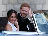 Meghan - pictured with Harry after their Windsor wedding - will ride with the Queen on the royal train