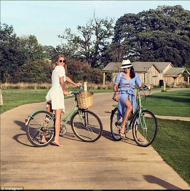 Fast friends: Meghan and Millie spent time at the Soho Farmhouse members¿ club in Oxfordshire, with Meghan posting several pictures of them together on Instagram