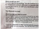 The letter sent to customers from Wessex Water was tampered with and 'Tom Wysocki is a t**t' sneaked in