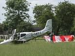 A pilot had an incredible escape yesterday when he deployed a parachute... from the top of his light aircraft