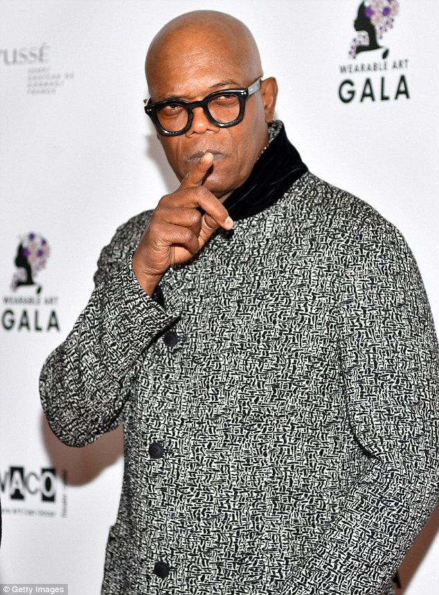 Taking the L: After Beyonce and Tina joined forces, they made sure to say hi to fellow celeb Samuel L Jackson at the event