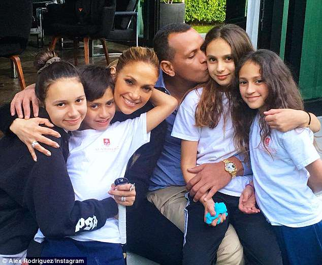 Blended brood: It probably helps that the power couple's children from previous marriages (her fraternal twins Emme & Maximilian Muñiz and his daughters Natasha & Ella) appear to get along well (pictured March 15)