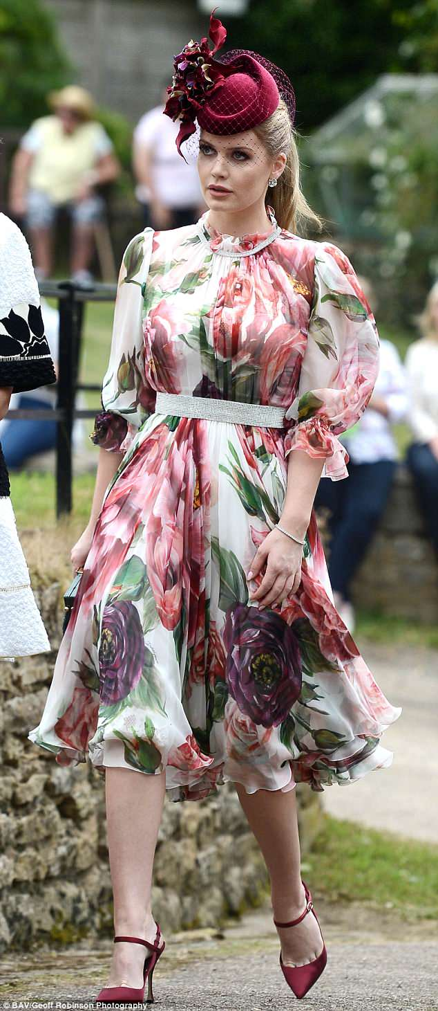 D&G model and muse Lady Kitty Spencer, pictured, also attended the family wedding