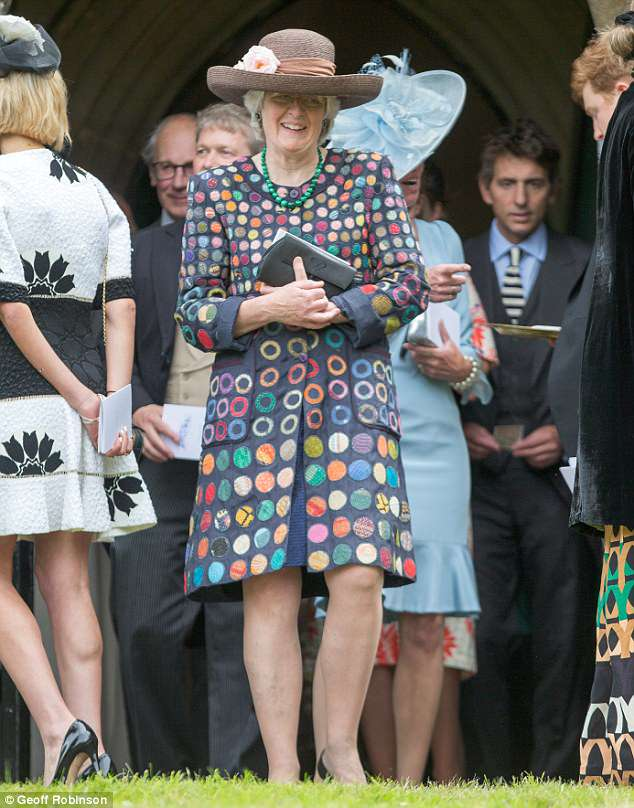 Princess Diana's sister Lady Jane Fellowes, pictured, opted for a playful coat for the event