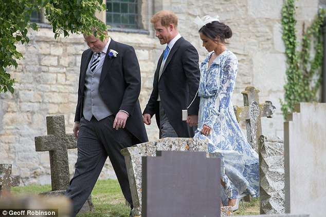 The colour of the royal's relaxed maxi dress matched her husband's blue tie