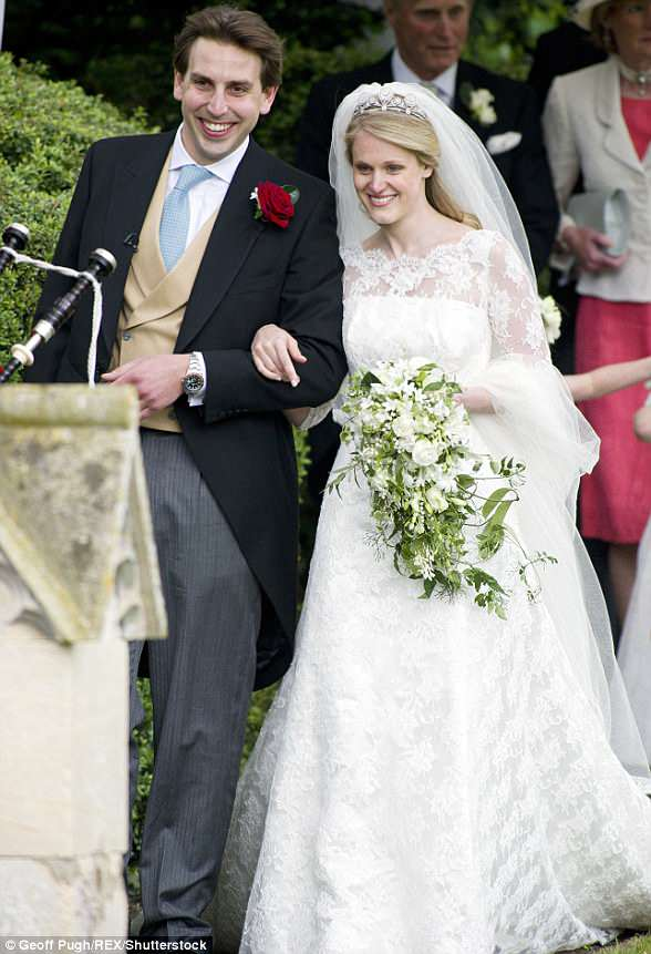 Returning the invite: Prince Harry and the Duke and Duchess of Cambridge all attended the wedding of their cousin,Emily McCorquodale and James Hutt in 2012, pictured