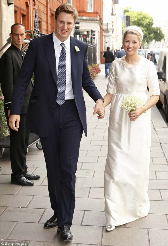 Guest of honour: Harry was among the congregation when his cousin Alexander Fellowes marriedAlexandra Finlay in London in September 2013, pictured